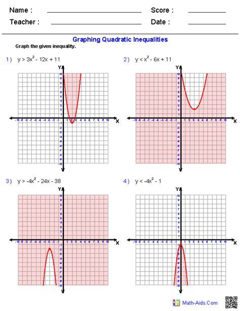 Graphing Inequalities Worksheet by Algebra 2 Worksheets Quadratic Functions And