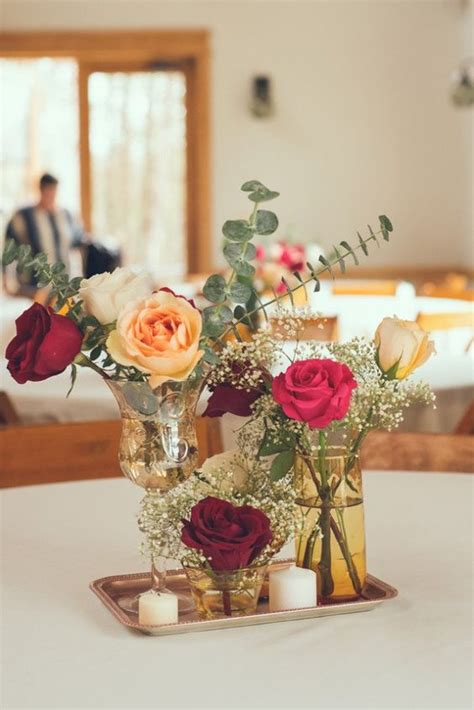 simple centerpieces intimate chic rustic wedding vintage inspired wedding