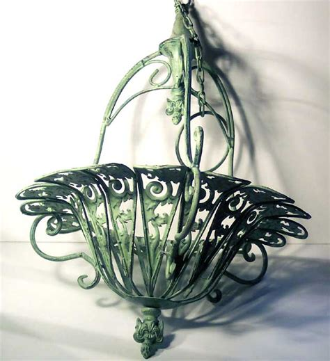 Wrought Iron Hanging Planters by Large Hanging Planter Mint Green Wrought Iron Ebay