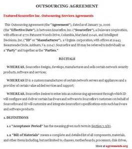 outsourcing contract template outsourcing agreement sle outsourcing agreement