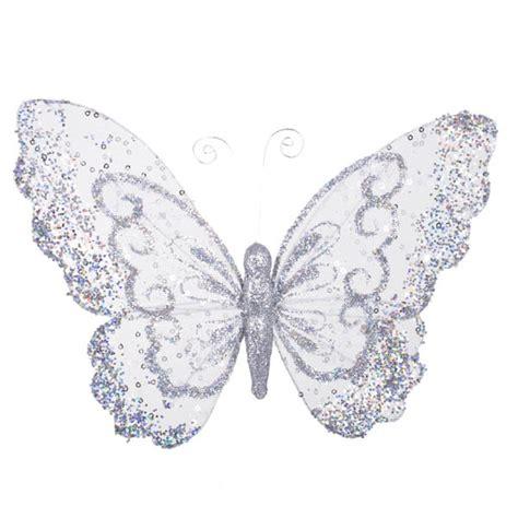 Silver Butterflies Decoration christmasbusinessuk