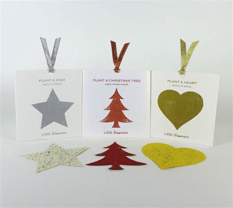 plantable christmas tree star and heart set by plant a
