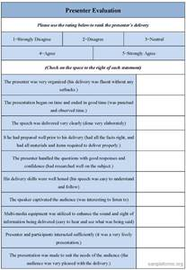 presenter evaluation form sle presenter evaluation