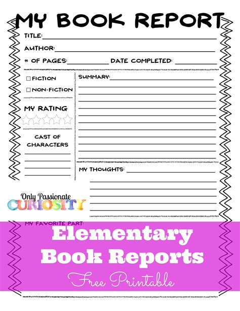 sle of book report for elementary elementary book reports made easy school