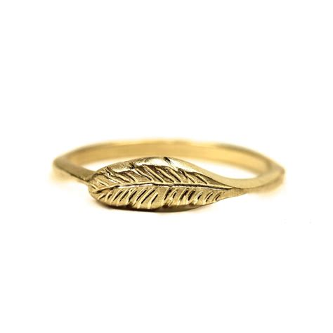 organic 14k yellow gold feather ring