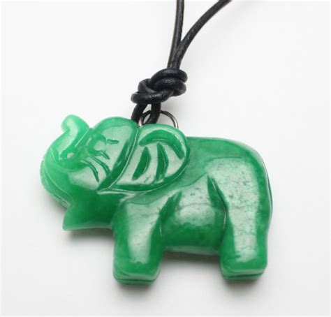 carved green jade elephant leather necklace s089
