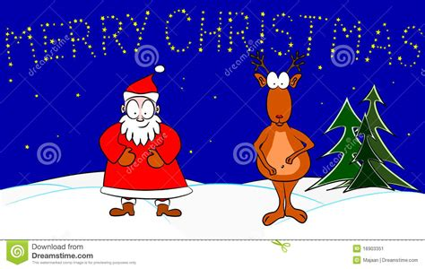 santa claus and rudolph the red nosed reindeer stock image
