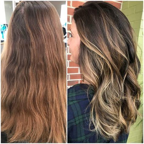 ash glaze hair color makeover brassy to bronde hair color modern salon