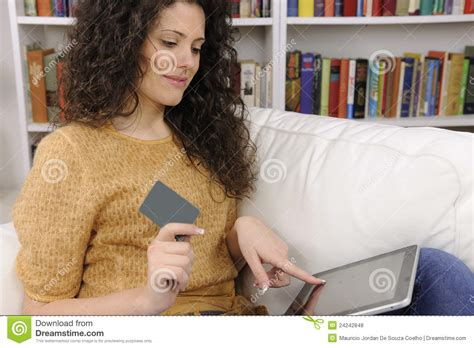 Gift Credit Cards Online - woman shopping online with credit or gift card royalty free stock photos image 24242848