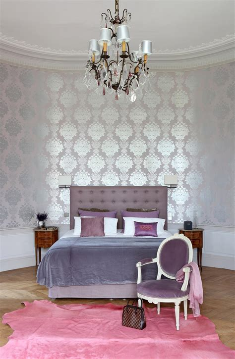 metallic bedroom wallpaper metallic wallpaper and muted shades of lavender make this