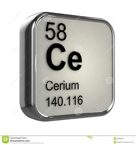 Ce Periodic Table by 3d Cerium Element Stock Illustration Image 39066653