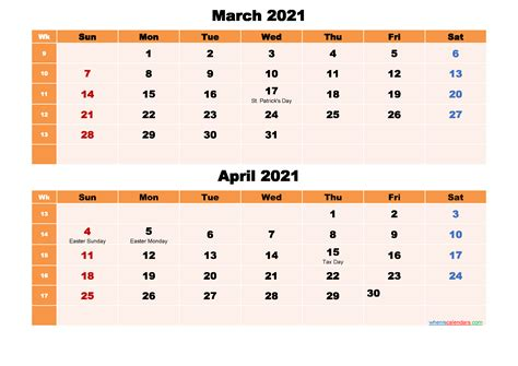 calendar  march  april  word