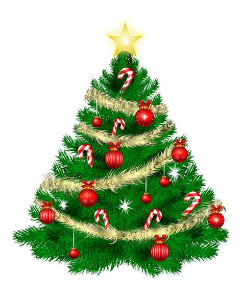 christmas tree with christmas ornaments and star clipart