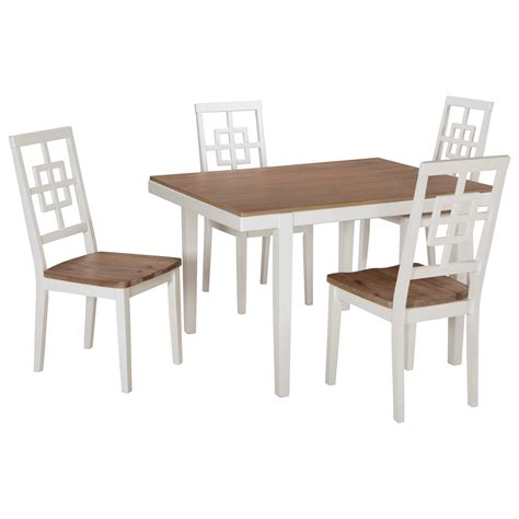 Rectangular Dining Table Set Signature Design By Brovada D298 225 Contemporary White Light Wash 5 Rectangular