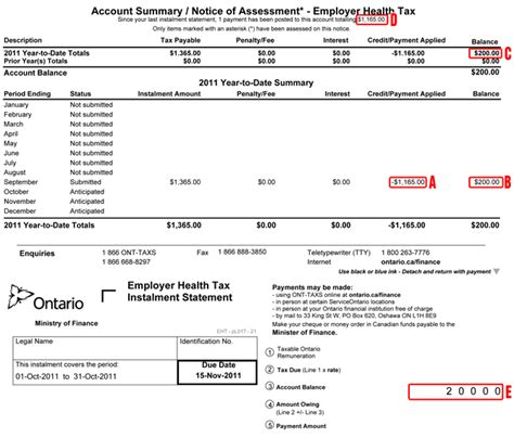 Tax Credit Form Ontario Understanding Your Eht Monthly Account Summary Notice Of Assessment