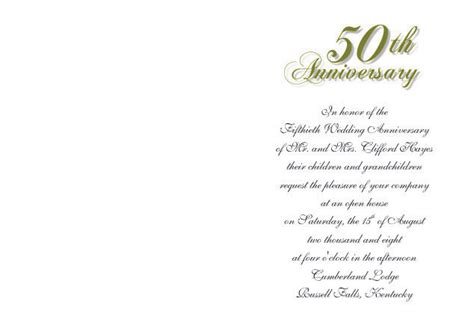 Sle Invitation Letter For Wedding Anniversary 50th Wedding Anniversary Invitations