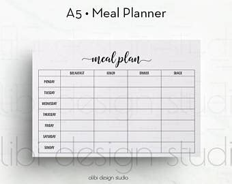 printable a4 weekly meal planner weekly meal planner printable a5 a4 half size 8 5 x 5 5