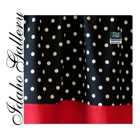 Polka Dot Black White Red Kitchen Curtain Or Bedroom Valance Polka Dot Kitchen Curtains