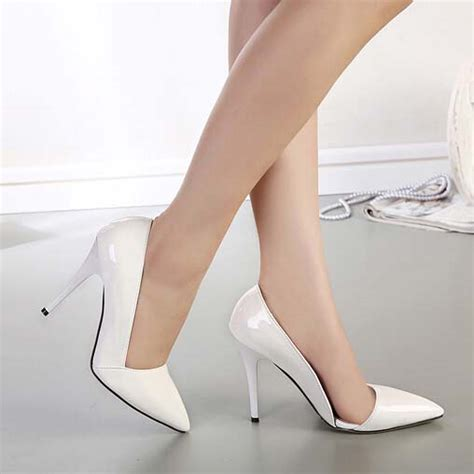 white pointed toe high heels white patent leather pointed toe high heeled shoes sws20192