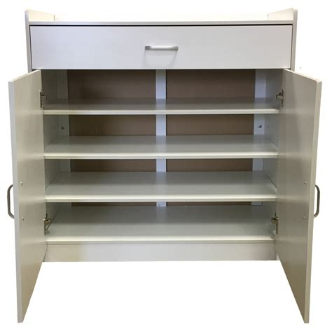 White Shoe Storage Cabinet White Shoe Storage Cabinet Rack Wooden Stand Sideboard Drawer Customer Return Ebay