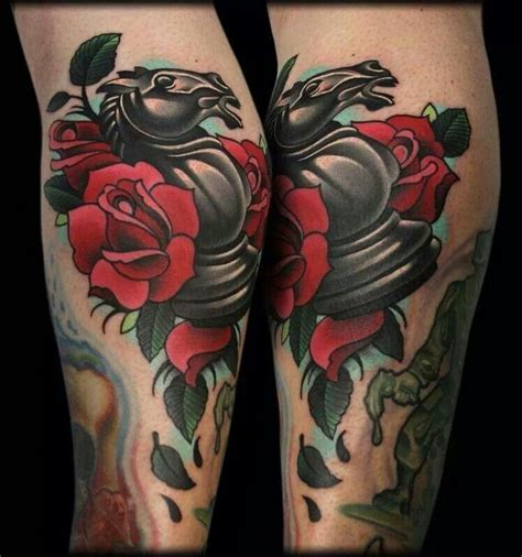 knight chess piece tattoo chess with roses tats chess