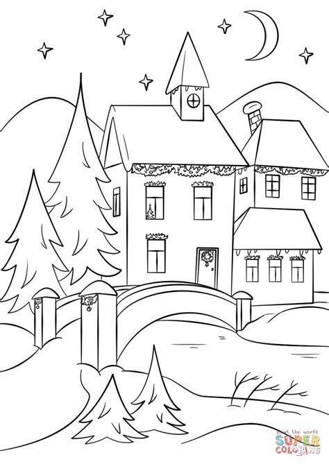 coloring pages christmas village winter village coloring page free printable coloring pages