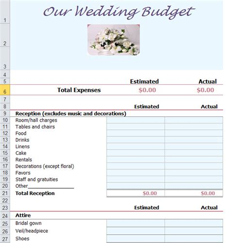 wedding budget template excel wedding budget planner template for excel