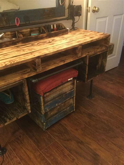 bench makeup black pipe pallet furniture dressing table vanity