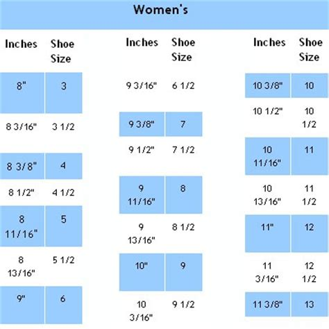 shoe size chart in inches us womens shoe size chart in inches crochet pinterest