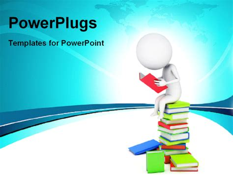 reading themes for powerpoint powerpoint template a number of books and a person