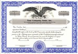 Corporation Stock Certificate Template by Custom Printed Certificates Corporation Corporation