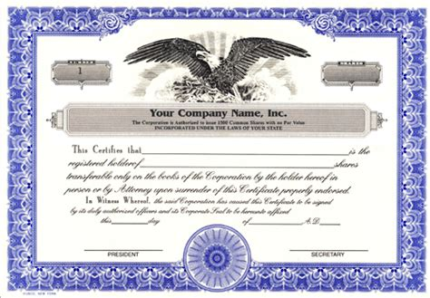 corporate stock certificate template custom printed certificates corporation corporation