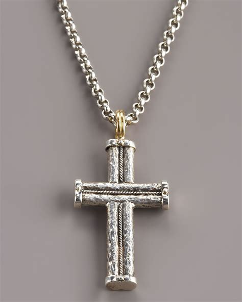 konstantino hammered rope cross pendant in silver for