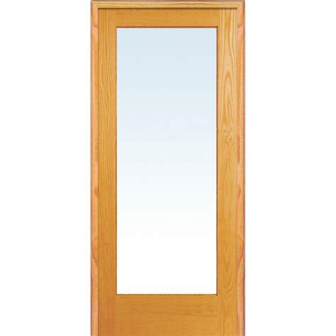 Mmi Door 36 In X 80 In Left Handed Unfinished Pine Wood Interior Wooden Doors With Glass Panels