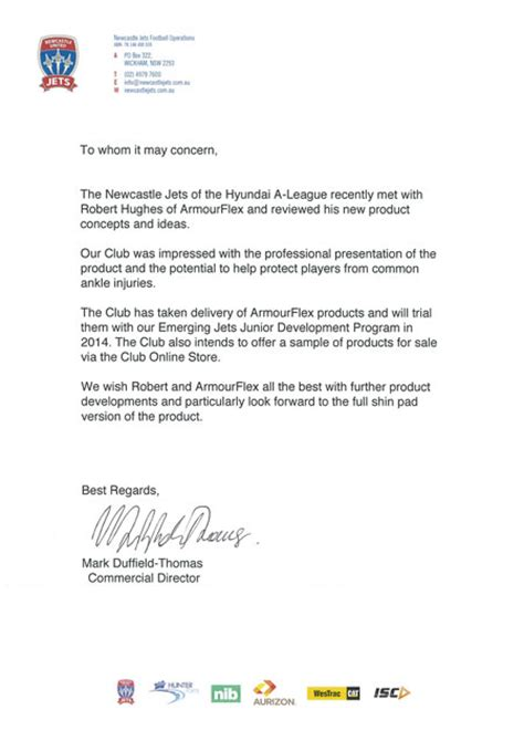 Endorsement Letter For Equipment lower shin pads are endorsed by the newcastle jets