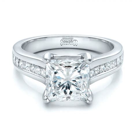 custom channel set princess cut engagement ring