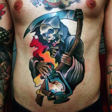 colour tattoos for men top 100 best stomach tattoos for masculine ideas