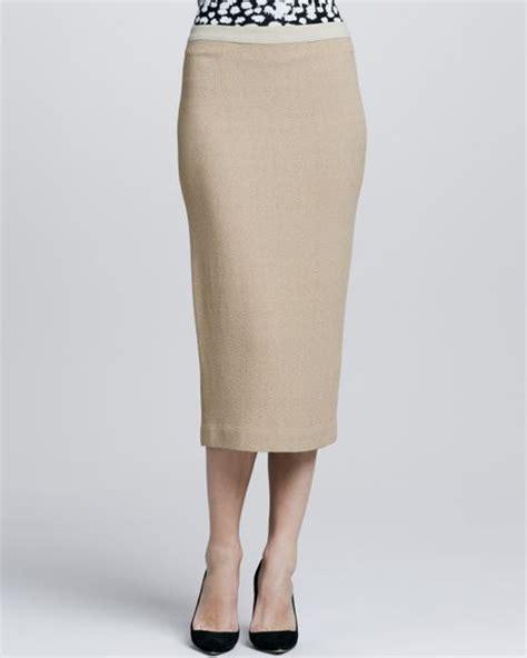 a l c thea midi pencil skirt in beige camel lyst