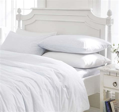 White Bed Linen Sets Blue White Stripe Boys Bedding Bed Linen Duvet Cover Set Or Fitted Sheet Ebay