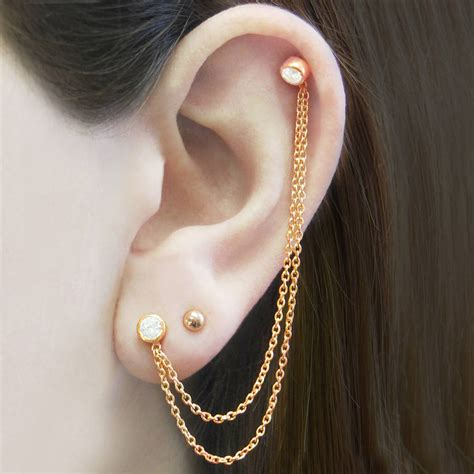 Chain Earring gold chain topaz birthstone earrings by embers