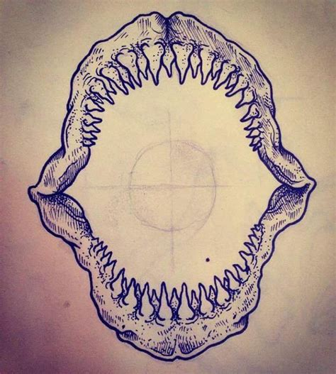 shark jaw tattoo knee cap idea tattoos and ideas knee cap