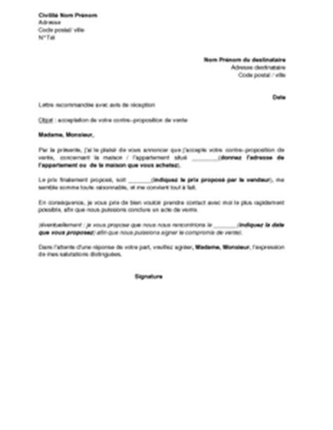 lettre de l acheteur acceptant la contre proposition du vendeur d un bien immobilier mod 232 le de