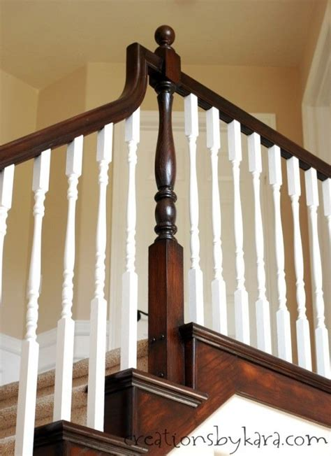 staining stair banister diy staircase makeover with stain and paint creations by
