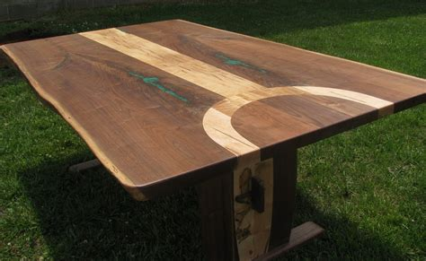 Hand Made Walnut And Ambrosia Maple Live Edge Dining Table
