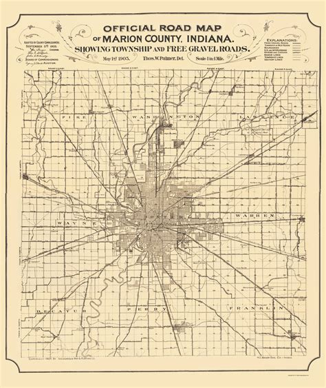 Marion County Warrant Search Indianapolis County Maps Marion County Indiana In Map By Indianapolis Map Co 1905