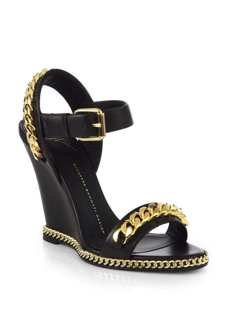 giuseppe zanotti gold sandals giuseppe zanotti leather chain trimmed wedge sandals in