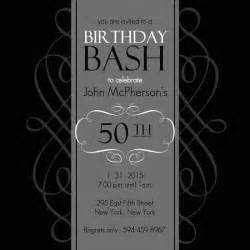 50th birthday invitations black and grey formal soiree 50th birthday invite