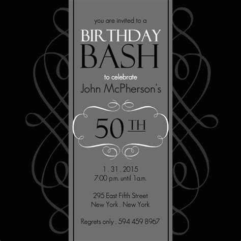 50th birthday invitations black and grey formal soiree