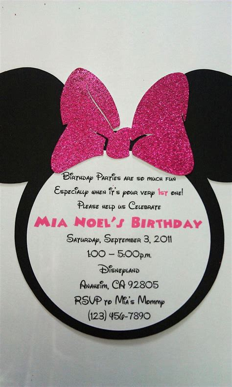 Minnie Mouse Handmade Invitations - 25 best ideas about minnie mouse birthday invitations on
