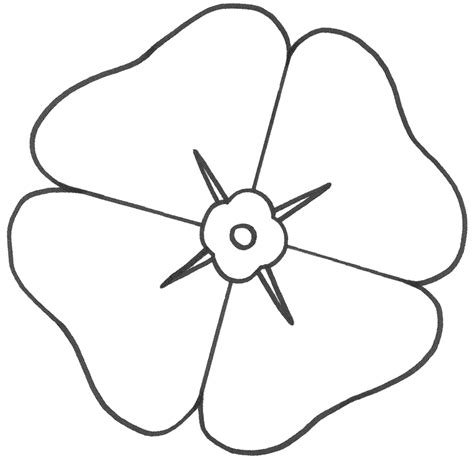 template of a poppy template poppy flower clipart best